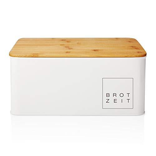 Lumaland Cuisine Brotkasten Brotdose Brotbox aus Metall mit Bambus Deckel,...