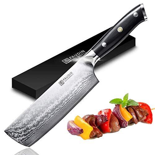 PAUDIN Damastmesser Nakiri Messer 17cm Professional Küchenmesser...